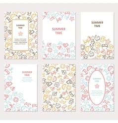 Summer time banners set with icons vector image