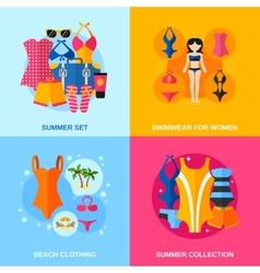 Swimwear Decorative Icon Set vector image