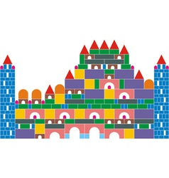 The castle of colored cubes vector