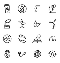 thin line icons - eco vector image
