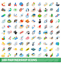 100 partnership icons set isometric 3d style vector image vector image