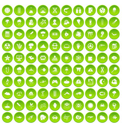 100 research icons set green circle vector