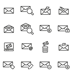 Line email icon set vector