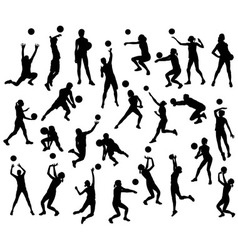 Volleyball sport activity silhouettes vector