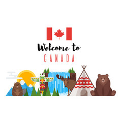 flat style set of canadian national objects vector image