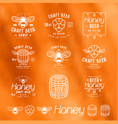 Set of honey beer labels badges and design vector