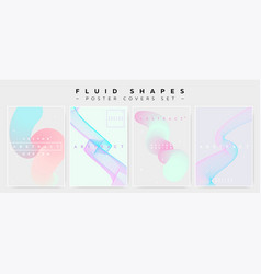 Pastel covers set with abstract fluid waves vector