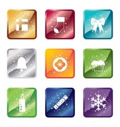shiny Christmas icons vector image