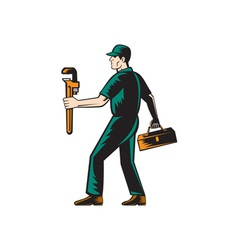 Plumber walking carry toolbox wrench woodcut vector