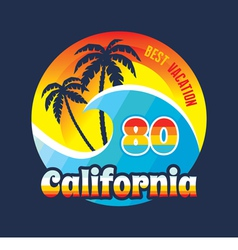 California 80 - surfing and vacation - badge vector