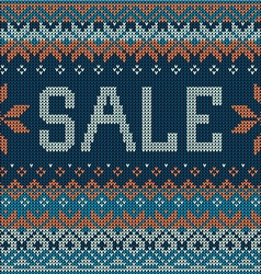 Sale scandinavian style seamless knitted pattern vector