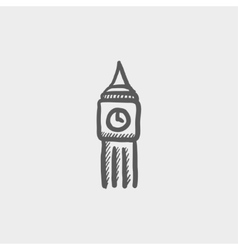 Big ben clock sketch icon vector