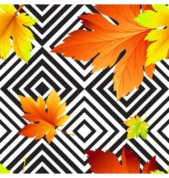 Autumn leaves seamless background geometric vector