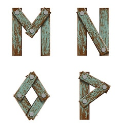 Set of letters from boards with nails vector
