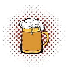 Beer mug comics icon vector