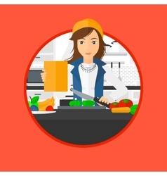 Woman cooking healthy vegetable salad vector image