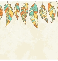 Background with tribal feathers dream catcher vector image