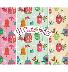 Christmas birds pattern vector