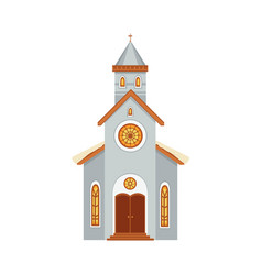 church flat icon covered with snow vector image