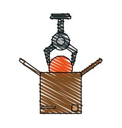 Color crayon stripe cartoon crane mechanics vector