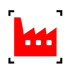 Factory sign red icon inside vector
