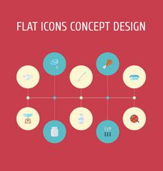 Flat icons soup spoon kitchen measurement vector