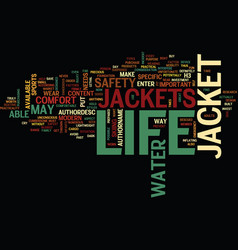 Life jacket safety text background word cloud vector