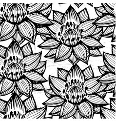 Lotus ink hand drawn seamless pattern vector
