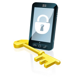 Mobile phone security concept vector