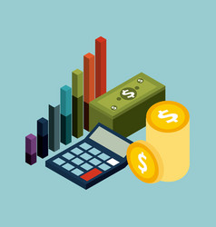 money isometric concept banknote coins calculator vector image