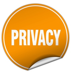 Privacy round orange sticker isolated on white vector
