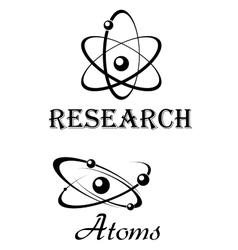 Science symbols with atom models vector image vector image