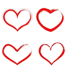 Set of hand drawn hearts happy valentines vector