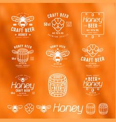 set of honey beer labels badges and design vector image
