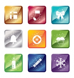 shiny Christmas icons vector image vector image