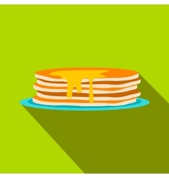 Stack of pancakes icon flat style vector image