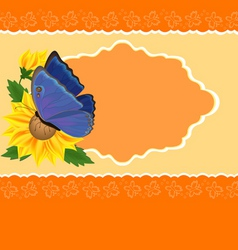 sunflower and butterfly vector image vector image