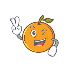 Two finger orange fruit cartoon character vector