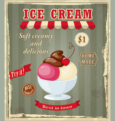 vintage banner with scoop cherry ice cream vector image vector image