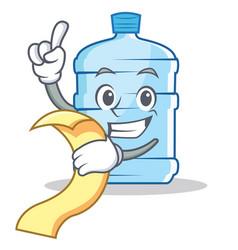 With menu gallon character cartoon style vector