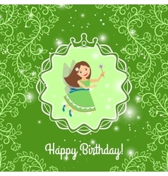 Beautiful cartoon princess on greeen background vector