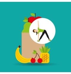 Woman flexibility exercising healthy food bag vector