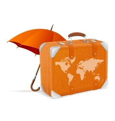 Traveling element baggage and umbrella vector