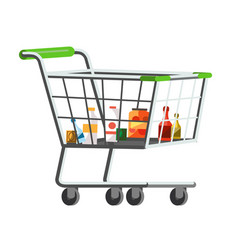full shopping trolley cart vector image