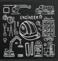 Chalkboard sketch icons engineer drawing style set vector