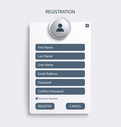 Register web screen with blue design template vector