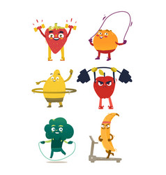 Funny fruit and berry characters doing sport vector