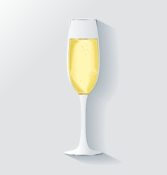 3d realistic champagne glass with bubbles vector