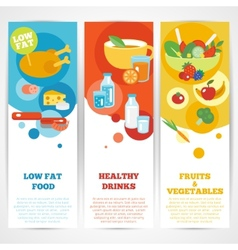 Healthy eating vertical banner set vector