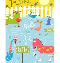 Colorful fun cartoon farm ice skating animals for vector